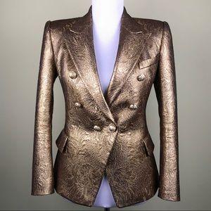 Balmain Gold Brocade Jacket Blazer Size 38 US 4 6